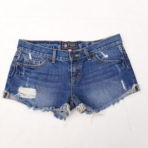 Pink Victoria's Secret Cut Off Distress Jean Short